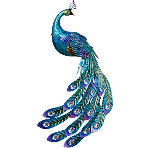 TERESA'S COLLECTIONS 47 inch Metal Peacock Decor Garden Statues and Sculptures, Garden Wall Art Indoor Outdoor Decoration, Dual Use Peacock Stake for Patio Yard Lawn Home Decor