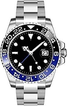 Fanmis GMT Master Sapphire Glass Blue and Black Ceramic Bezel Men s Silver Automatic Watch
