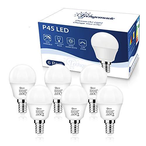 6X E14 G45 Edison Schraube Glühbirne, Techgomade 5,5 W High CRI 95+ Golfball Glühbirnen, 50 W Glühlampe äquivalent, Blaulichtblockierung, Augenschutz, Geeignet für Wohnzimmer, Studie