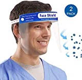 Muryobao Men & Women Safety Face Shield Reusable Full Face Transparent Windproof Dustproof With Protective Clear Film Elastic Band 2Pcs