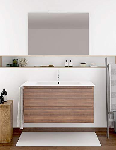 PDM Mueble DE BAÑO SUSPENDIDO Fondo REDUCIDO con Lavabo Espejo TOALLERO Y (Aplique LED no Incluido) MIZAR 60-35 CM (Fresno Tea)