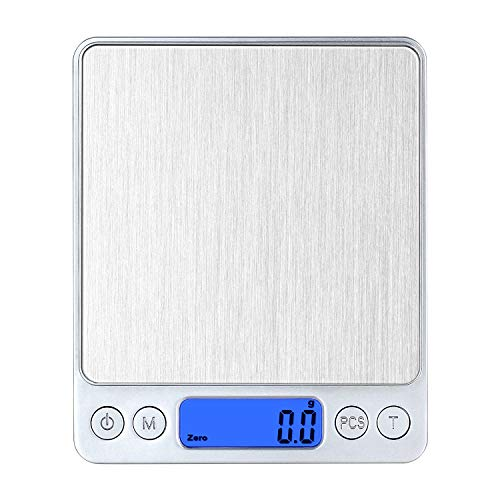 CHWARES Digital Kitchen Scales,USB Charging, 3Kg/0.1g Mini Food Scales, Electric Cooking Scales, Waterproof Digital Scale USB Rechargeable,LCD Display, Stainless Steel, for Ingredients Jewelry Coffe