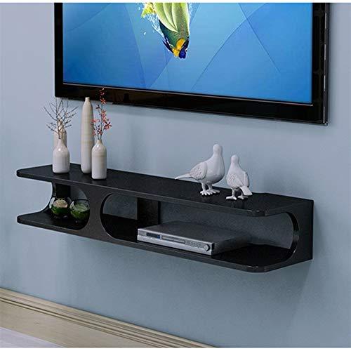 Estante flotante de madera Muebles de pared Muebles de TV Estante de TV de televisión Estante enrutador Estante DVD conjunto de caja de almacenamiento de teléfono ( Color : Negro , tamaño : Grande )