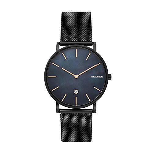 Skagen Men's Hagen Analog-Quartz Stainless-Steel-Plated Strap, Black, 19.8 Casual Watch (Model: SKW6472)