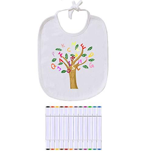 Qcore baby slabbetjes wit om te beschilderen, 12 stuks babyhalsdoeken katoen afwasbaar met 12 premium markeerstiften – perfect cadeau voor babyshower party