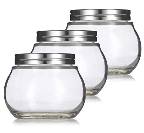 Clear 8 oz  220 ml Round Glass Jar with Silver Metal Lid 3 pack - for Home Storage and Organization Kitchen Wedding and Shower Gifts