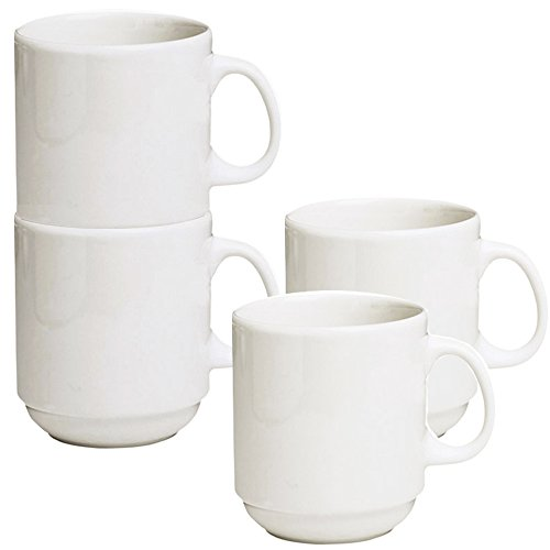 Stackable Ceramic Diner Coffee and Tea Mugs with Pan Scraper, 12 Ounce (4-Pack, White Ivory)