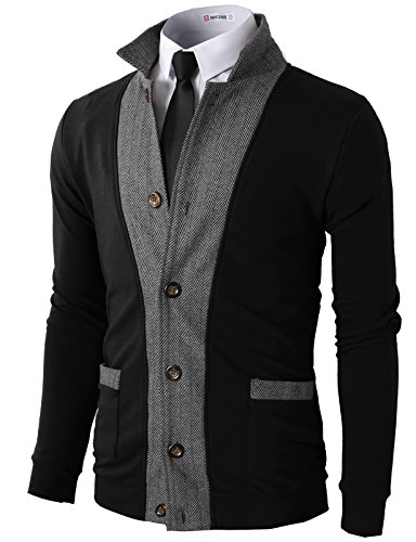 H2H Mens Two-Tone Herringbone Jacket Cardigans Black US L/Asia XL (JLSK03)