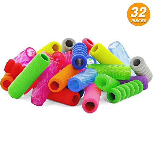 Emraw Soft Foam & Squishy Gel Pencil Grips Assorted Colors Kids Handwriting Pen Grip Children Comfort Writing Posture Correction Tool For Preschoolers (32 Pieces)