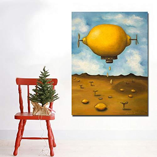N / A Abstrakte Malerei Zitronentropfenbild auf Flugzeugwandkunstbild verzieren Wohnzimmerplakat Rahmenlos 50x65CM
