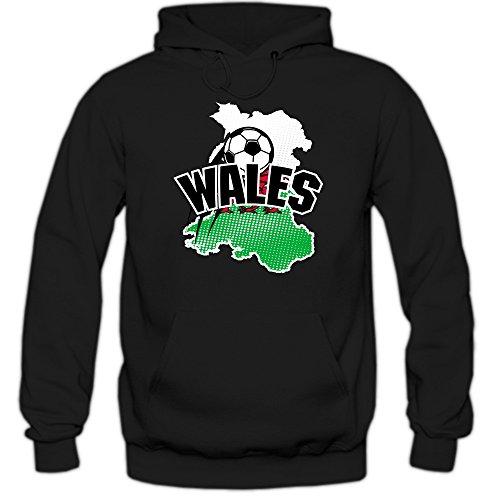 Wales WM 2018#1 Hoodie | Fußball | Herren | The Dragons | Trikot | Nationalmannschaft, Farbe:Schwarz (Black F421);Größe:M