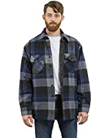 YAGO Men's Quilted Lined Long Sleeve Flannel Plaid Button Down Shirt YG2611 (Navy/Dark Grey/Grey, X-Large)