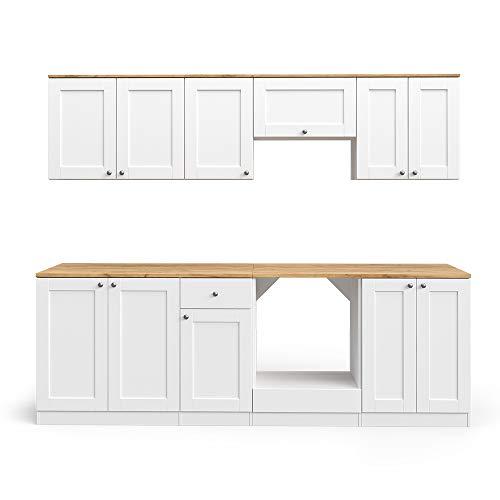 Vicco Küchenzeile INGA 240cm Landhaus Stil Einbauküche Komplettküche Küche Landhausküche inkl. Arbeitsplatte (Weiß, Mit Herdumbauschrank)