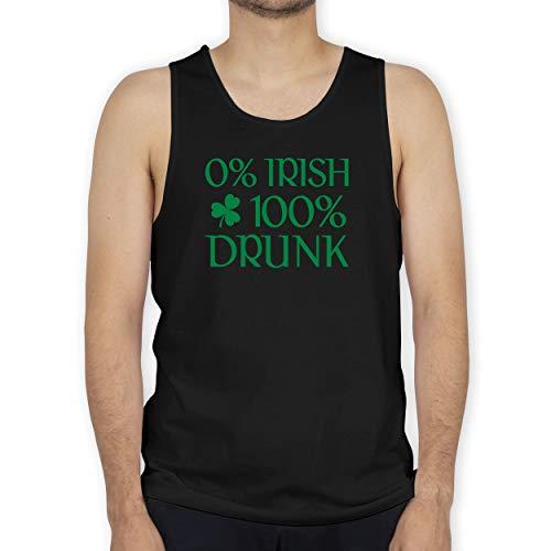 St. Patricks Day - 0% Irish 100% Drunk St Patricks Day - XL - Schwarz - St. Patrick's Day - BCTM072 - Tanktop Herren und Tank-Top Männer