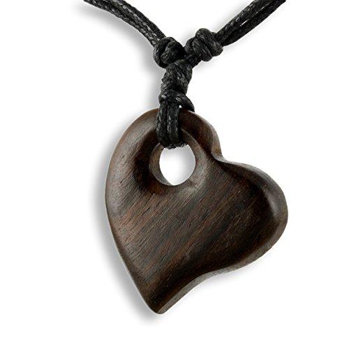 ISLAND PIERCINGS Halskette Herz Anhänger aus Holz Handarbeit längenverstellbar N283