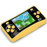 QINGSHE QS-4 Consoles de Jeux Portables, Console de Jeux Retro FC Game Console 2.5 Pouces TFT Écran 182 Rétro Classique Jeux, Arcade TV Jeux Vidéo, Cadeau d anniversaire pour Enfants (Jaune)