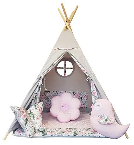 Izabell Kinder Spielzelt Teepee Tipi Set für Kinder drinnen draußen Spielzeug Zelt Indianer Indianertipi mit Fenster Tipi mit Zubehör Tipizelt Garden