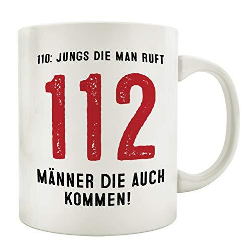 Interluxe Tasse Kaffeebecher 112 Jungs DIE Man Ruft Feuerwehr Kaffeetasse mit Spruch Mann