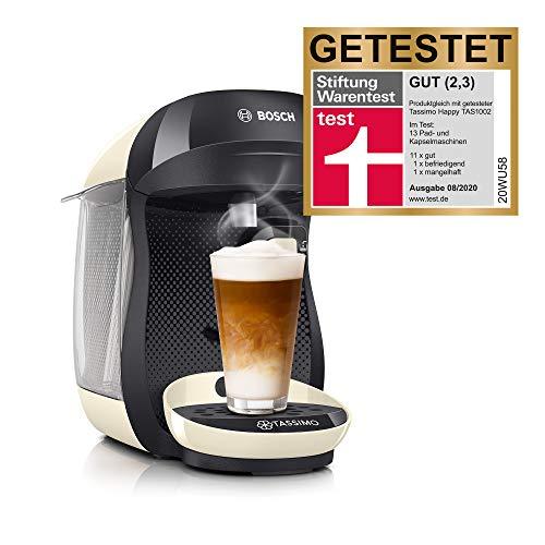 Bosch TAS1007 Tassimo Happy Kapselmaschine (über 70 Getränke, vollautomatisch, geeignet für alle Tassen, einfache Zubereitung, 1.400 Watt) creme/grau