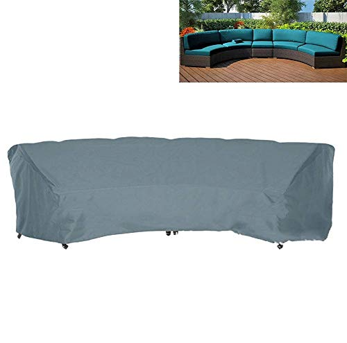 SFSGH Outdoor Curved Sofa Cover 210D Oxford Waterproof Sectional Curved Sofa Protector for Half-Moon Garden Furniture Covers,Gray,228x116x86cm