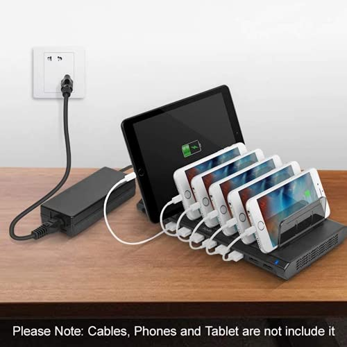 Alxum iPad Charging Station, 108W 10 Port Phone Docking Station & Organizer with Adjustable Dividers and Smart IC, Multi Devices USB Charger Dock for iPhone, Samsung Galaxy, Cell Phone, Apple, Tablet