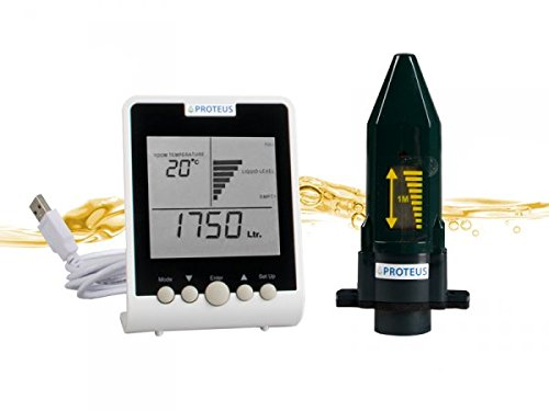 Füllstandsanzeige für Heizöltank mit Funk-Display. Batteriebetriebener Ultraschall Füllstandssensor plus separates Funk-Display - EcoMeter - Funkübertragung bis zu 150m