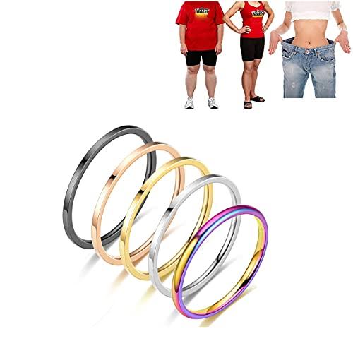 LONG-D 2Pcs Magnetring Edelstahl Gewichtsverlust Ring Anti Müdigkeit Anti-Cellulite Abnehmen Quer Sand Ring Für Frauen Schmuck Geschenk,Silber,5 = 15mm