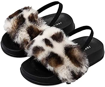 FEETCITY Girls Slippers Faux Fur Slide Toddler Furry Sandals