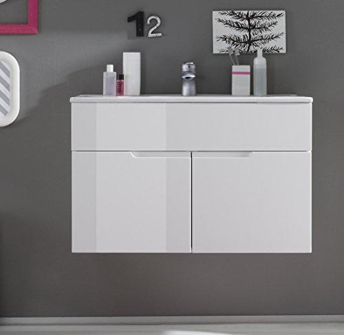 Waschbeckenunterschrank mit Becken Weiss Hochglanz