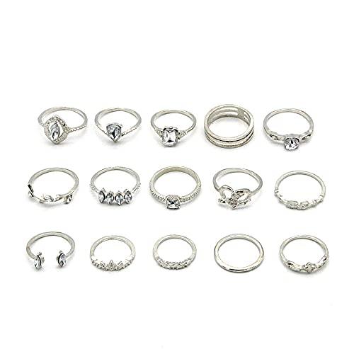 Boho Knuckle Rings Set for Women Rhinestone Stacking Ring Set Joint Midi Finger Rings Set Vintage Retro Silver Bohemian Rings Gift Jewelry for Women Girls (Pack of 15)