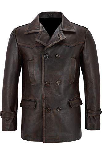 Takitop Handid Trenchcoat aus echtem Leder, Used-Look, Braun - Braun - XX-Large