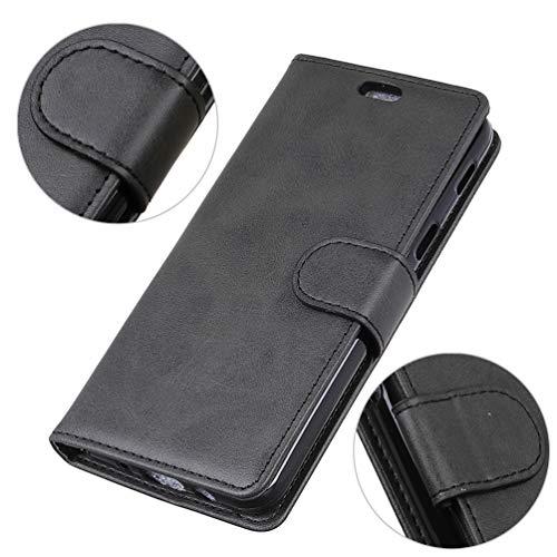 LingDan Schutzhülle für Razer Phone 2 (5,7 Zoll) PU Lederhülle Flip Cover Ledertasche Retro Rindleder Muster mit Ständer Magnetverschluss Kartensteckplatz Brieftasche Hülle, Schwarz