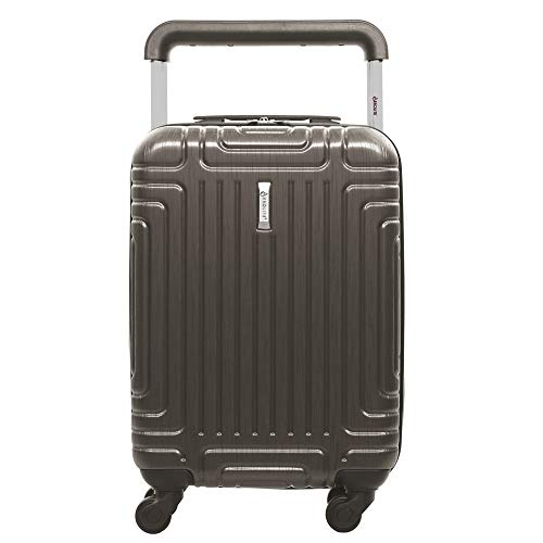 Aerolite ABS Hard Shell Carry On Hand Cabin Luggage Trolley Bag Suitcase 55x35x20 with 4 Wheels, easyJet Ryanair British Airways Approved (Charcoal)
