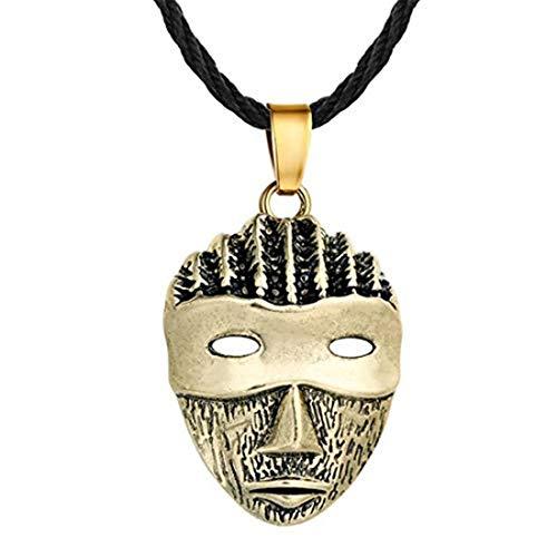 Collar con colgante de máscara punk para mujer, collar de cadena de eslabones vintage para mujer y hombre