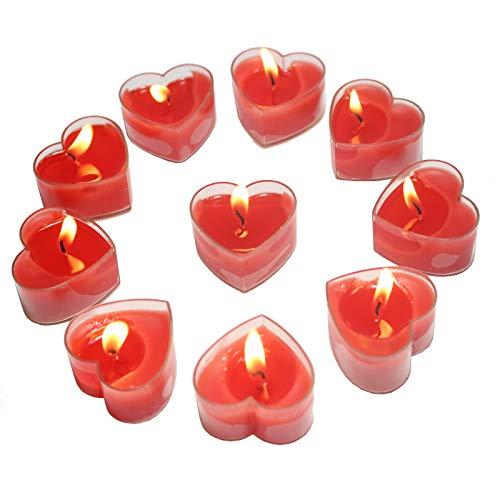 Smart-Planet® Kerzen Ambiente - rote Herzen Teelichter 10 Stück zum Dekorieren Herz für Valentinstag Hochzeit Geburtstag Teelicht rot in Herzform