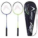 Arrowmax Badminton Racquet Set of 2 pcs for All Age Groups | Set of 2 jointless Steel Rackets for...