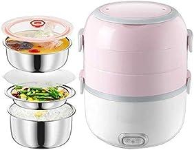 Électrique Boîte à lunch, Mini cuiseur à riz portable, revêtement en acier inoxydable, 3 couches électriques Vapeur, stock...