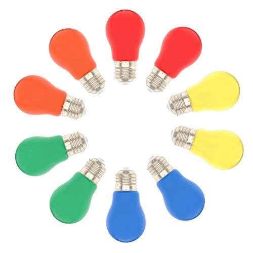 10er Pack Farbige LED Leuchtmitte 1.5W E27 A50 Gemischt Rot Gelb Grün Blau Orange,Bunte Glühbirnen für Hochzeit Halloween Weihnachten Party Bar