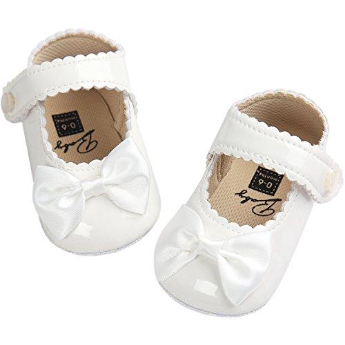 Fire Frog Baby Girls Mary Jane Burnish Pu Leather Bowknot Pincess Prewalker Christening Baptism Crib Shoes White
