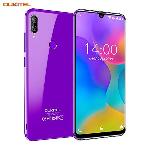 OUKITEL C16 Pro Dual 4G Smartphone Libre, Android 9.0 Quad-Core Teléfono móvil,3GB RAM+ 32GB ROM,5.71' HD+ 19:9 IPS Waterdrop Pantalla,Cámara 8MP+5MP,Batería 2600mAh,Face ID+Fingerprint+GPS (Morado)