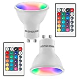 Bombilla LED GU10 RGBW, 4 W equivalentes a 30 W, 300 lúmenes, GU10, regulable, cambio de color, bombilla RGBW con mando a distancia, 3000 K, blanco cálido, 2 unidades