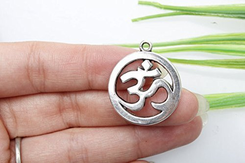 3 colgantes de plata tibetana envejecida, símbolo de yoga, dijes Om