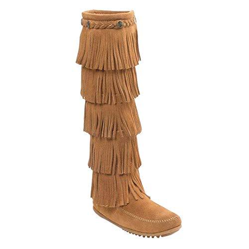 Minnetonka Women's 5-Layer Fringe Boots 8 M Taupe