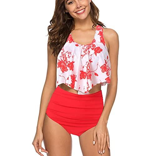 Damen Bikini Zweiteiler Plus Size Badeanzug Rüschen Rückenfrei Neckholder Strand Hohe Taille Gedruckt Bademode Set