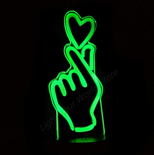 Langue des signes Love You 3D Night Light 7 Changement de couleur Heart Led Desk Light Living Bed Room Wedding Party Atmosphere Lamp Bluetooth Control