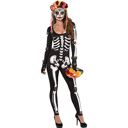 Party City Day of The Dead Catsuit Halloween Costume for Women, Dia de Los Muertos, Large/Extra Large (14-16)