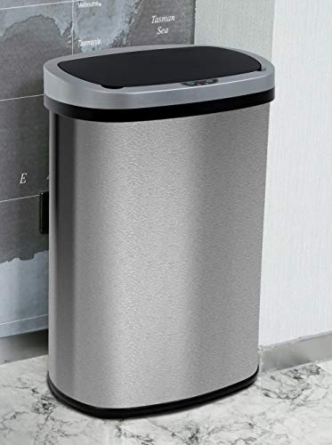 13 Gallon Kitchen Trash Can Waste Bin Stainless Steel Garbage Can Automatic Touch Free High-Capacity 50 Lite for Home Office Bedroomr