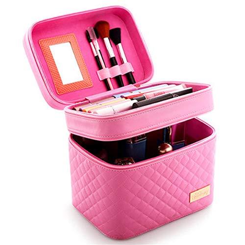 Femmes Boîte cosmétique design de haute qualité Portable Sac cosmétiques de grande capacité PU Sac cosmétique,Rose,B