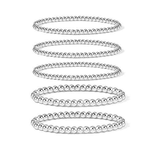 Silver Bead Bracelet for Women,14K Gold Plated Bead Ball Bracelets Stretchable Elastic Bracelets (5 pcs Set Solid Bead Bracelets - Silver)…