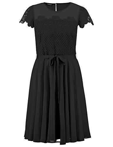Taifun Damen Gewebe Kleid, Schwarz (Schwarz 11000), 38